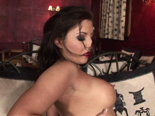 Saucy brunette pornstar touching her big breasts and tiny cunt with lust