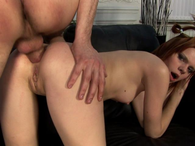Hot redheaded wench getting skinny arse smashed doggy style