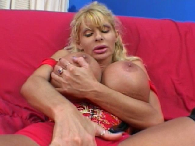 Insatiable blonde milf Misty Knights touching her giant breasts with lust