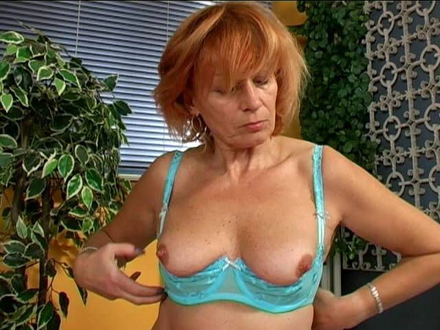 Red haired busty granny in blue lingeria Lady rubbing her hairy muff