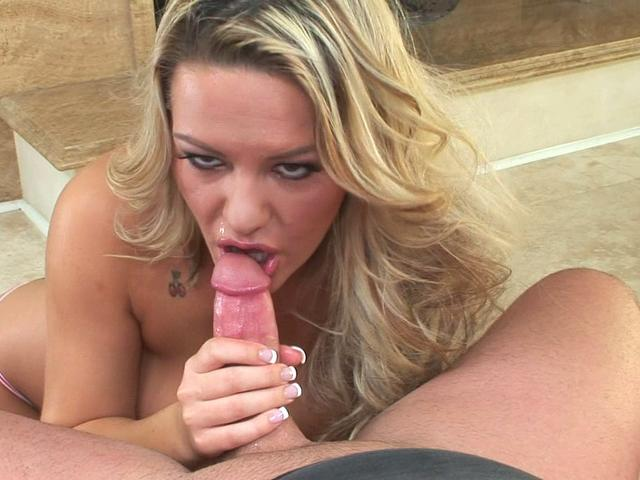 Sexy blonde Megan Monroe sucks this shaved prick
