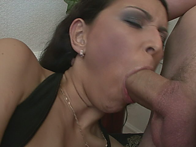 Cheering brunette tramp in stockings getting anally fucked by two giant cocks