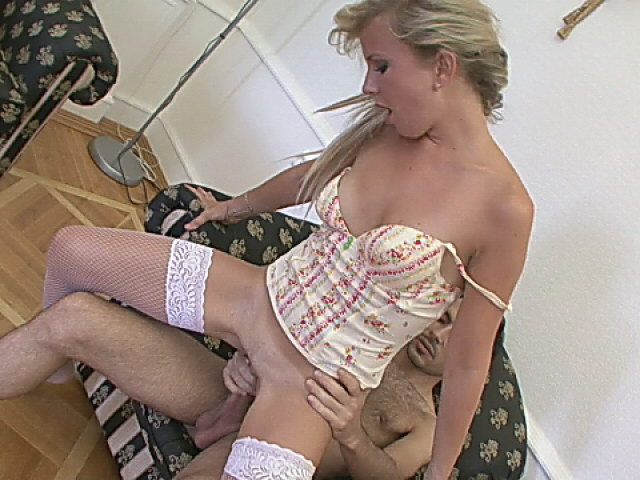 Sweety babe in fishnets sucking and riding a big schlong
